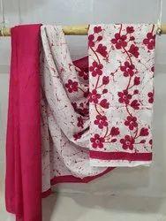 Bagru Hand Batik Floral Cotton Mulmul Saree
