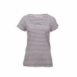 Half Sleeve Cotton Ladies Striped T-Shirt