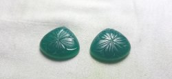 Natural Green Onyx Handmade Carved Heart Shape Loose Gemstone Pairing Set Of Pendant And Earring