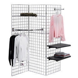 Silver Stainless Steel Gridwall Display Shelf