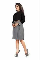 Office Wear Zebra Print Shirt-Skirt Set