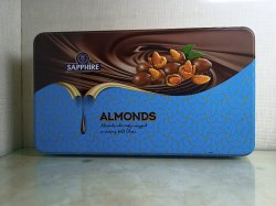 Assorted, Halalnit And Almonds Rectangular Sapphire Chocolate Coated Nuts Assorted, Packaging Type: Tin Box