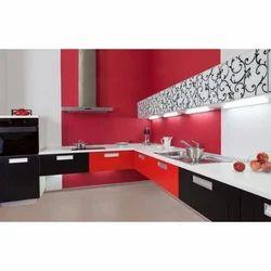 Wooden L Shape Modern Kitchen, Warranty: 10-15 Years