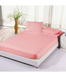 Satin Stripe Fitted Pink Colour Bedsheet