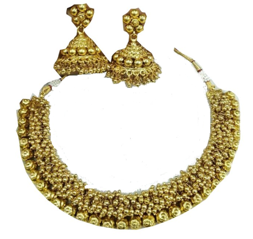 Vardhaman Goodwill Anniversary Chain Temple Necklace With Jhumka