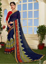 Navy Blue Crepe Printed Casual Saree