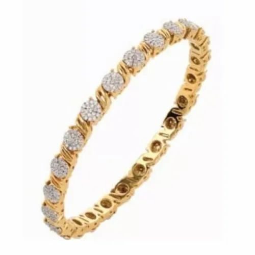 Party Wear Gold Diamond Flower Bangle