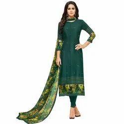 Rajnandini Bottle Green Chanderi Silk Plain Semi-Stitched Dress Material With Printed Dupatta