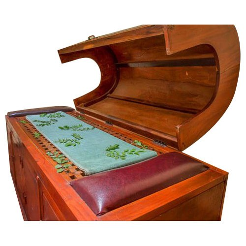Teak Wood Brown Steam Bath Bed