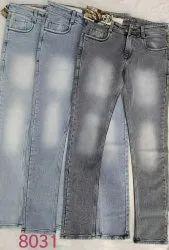 Men Plain Knitted Denim Jeans