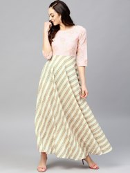 Multi Colored Maxi Dress With Round Neck And 3/4 Sleeves