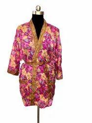 Women Traditional Short Silk Kimono
