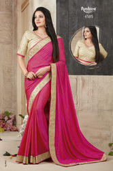 Georgette Embroidery Work Pink Sarees