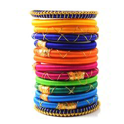 Indian Handcraft Fluorescence Color Silk Thread Bangles