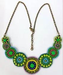 Bead Green Embroidered Necklace