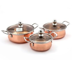 Coconut Minar Copper with Glass Lid Cookware Set