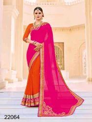 Georgette Pink & Orange Heavy Worked Designer Saree
