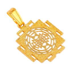 Brass Golden Sri Yantra Pendant