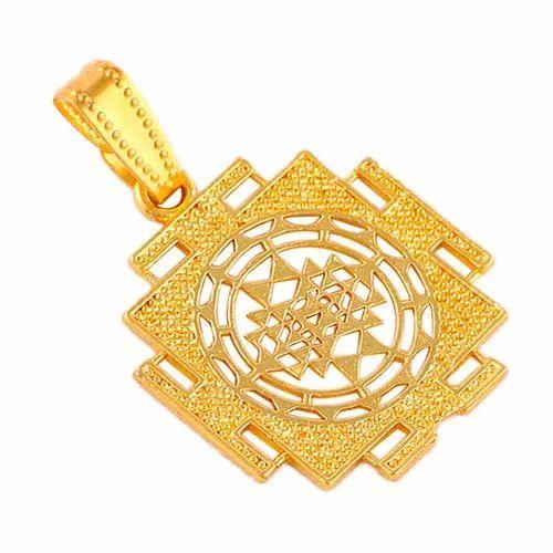 Shri yantra brass pendant.