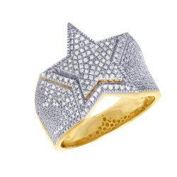 10K Gold Men's Star Diamond Ring