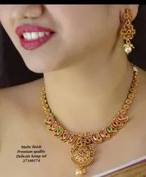 Karishma Kreations Matte Finish Temple Jewellery Set - 100500100