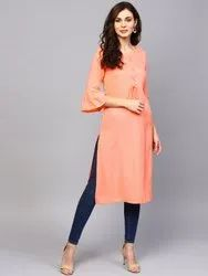 Casual Wear Straight Designer Rayon Kurti, Age Group: Above 18 Years