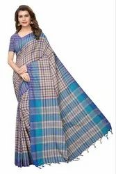 Cotton Silk Party Wear Blue Saree With Blouse Piece