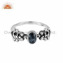 Blue Topaz Gemstone Oxidized Silver Ring Jewelry