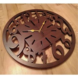 IV Plastic Brown Wooden Wall Clock