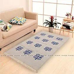 Beige Indian Floor Area Rug Cotton Punja Rug Boho Carpet