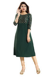 Green Gold Foiled Crepe  Kurti