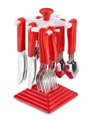 Cutlery Set with Stand Made from Stainless Steel and ABS Plastic - 24 Pcs Plastic Stand
