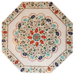 Round Pietra Dura White Coffee Table Tops