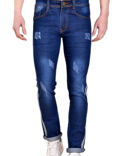 Slim Fit Mark Tailor Dark Blue Denim Ripped Jeans