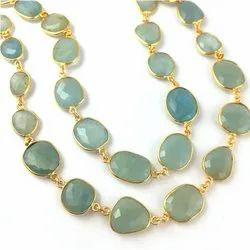 Natural Aquamarine Gemstone Gold Plated Bezel Connector Chain