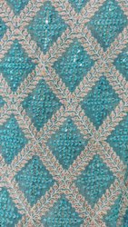 Georgette Blue Embroidered Fabric
