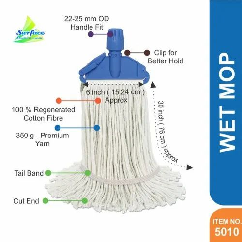 Cotton 5010 Elegant Clip & Fit Mop , Tail Band - 350 g