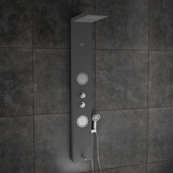 ERIS Black Shower Panel With Cascade Flow