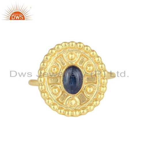 Blue Sapphire Gemstone Designer Supplier Gold Plated Silver Rings Jewelry
