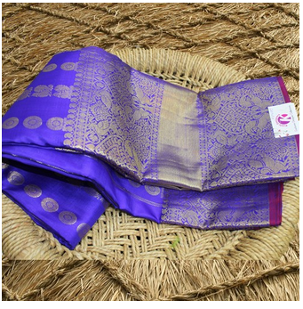 152da9d0bf Kanchi Pattu Sarees - Blue Allover Butta Kanchipuram Pattu Saree ...