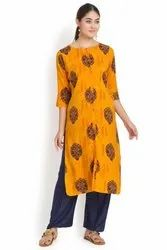 Yellow 3/4th Sleeves Rayon Kurti