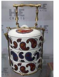 Ceramic Tiffin With brass Handle