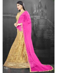 Golden Heavy Embroidered Net Lehenga Choli