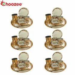 Choozee - Copper Thali Set of 6 (42 Pcs) Plate, Bowl, Spoon & Glass