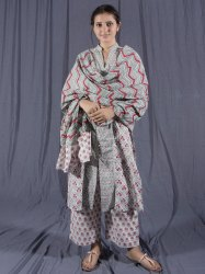 Crimson Cotton Hand Block Printed Kurti Set ( 3 Piece Set )