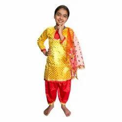 S-xxl Round Red And Yellow Punjabi Bhangra Dress