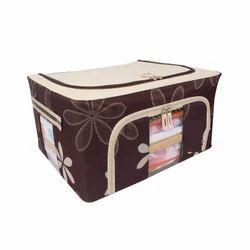 Brown Non-Woven Fabric Foldable Cloth Organizer Bag, For Garment Storage