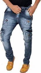 Blue Cotton/linen Mens Cargo Pants