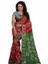 Jacquard Silk  Resham Embroidery Batik  Bandhani Saree
