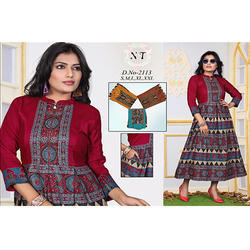 Cotton Satin Jaipuri Kurtis